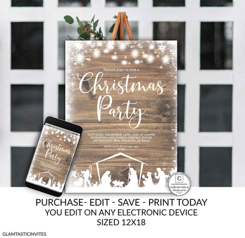 Editable Nativity Rustic Christmas Party Poster Sign Template Holiday Company Party Winter Online Cheap Textable Electronic Email DIY Snow