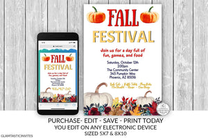 Editable Fall Festival Flyer Block Party Invitation Church Festival Fall Harvest PTO PTA, School Event Flyer Halloween Invitation Community