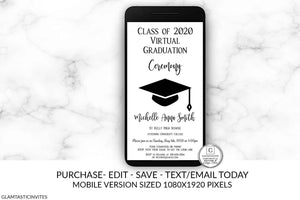 Virtual Graduation Ceremony Invitation, Online Graduation, Online School, Class of Virtual Graduation, Virtual Graduation Party, Distancing