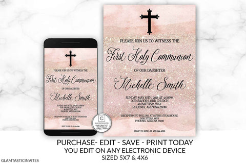 Rose Gold Pink Watercolor First Communion Invitation Girl First Communion Invitation First Communion Invitation Printable You Edit DIY Card