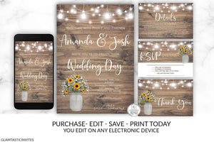 Rustic Wedding Invitation Printable, Country Wedding Invitation, Digital file, Printable, wedding invitation suite, Instant Download, DIY