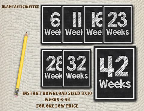 Week By Week Pregnancy Countdown, Instant Download Pregnancy Announcement, Photo Prop Pregnancy, Props Chalkboard Countdown, Pregnancy Sign