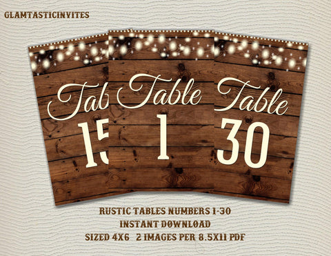 Rustic Table Numbers, Printable Table Numbers, Wedding Table Numbers, Instant Download, Rustic Wedding, Printable, Tables 1-30, Rustic