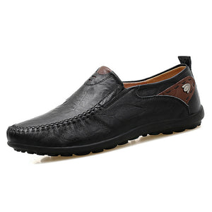 Men Fashion Casual Split Leather Slip On Loafers Shoes