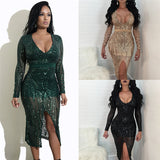 Sexy Sheer Glitter Sequin Party Dresses Women Long Sleeve Plunge V Neck