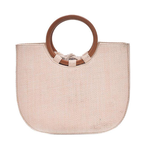 Simple Women Round Handle Handbag  Casual Crossbody Bags