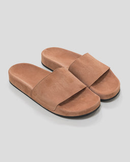 CMMN SWDN Suede Pool Slides Rouge