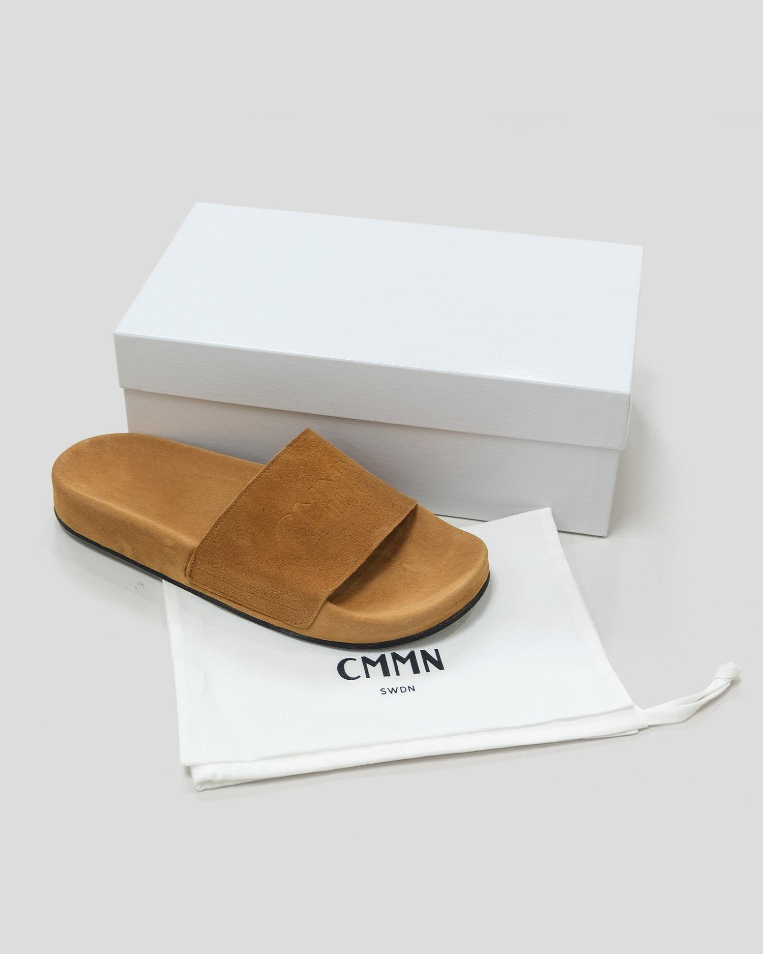 CMMN SWDN Suede Pool Slides Tan