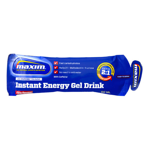 Maxim In­stant ener­gy gel drink co­la
