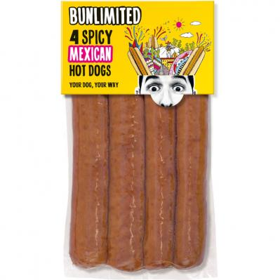 Bun­li­mi­ted 4 Spi­cy Mexi­can hot dogs