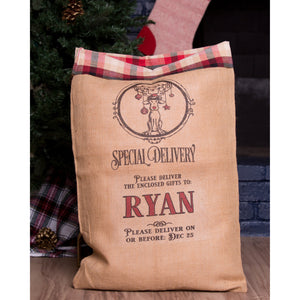 Large Santa Sack Plaid Ticking