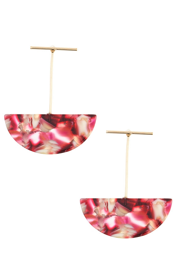 Raspberry Acetate Dish Earring