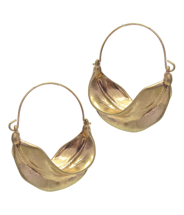 Gold Textured Metal Leaf Hoop Earring