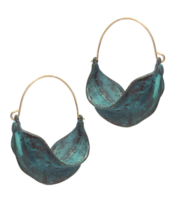 Blue Textured Metal Leaf Hoop Earring