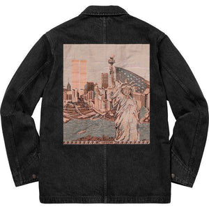 Supreme 18S/S NY Tapestry Denim Chore Coat Black