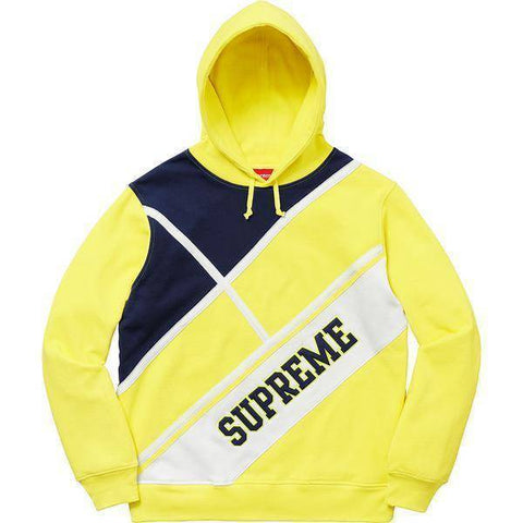 Supreme 18S/S Diagonal Hooded Sweatshirt Lemon