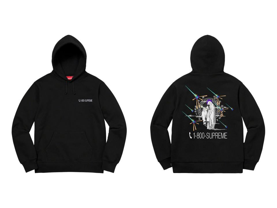 Supreme 19FW 1-800 Hooded Sweatshirt Black