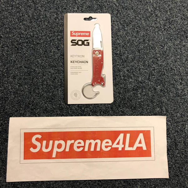 Supreme 18F/W SOG KeyTron Folding Knife Red