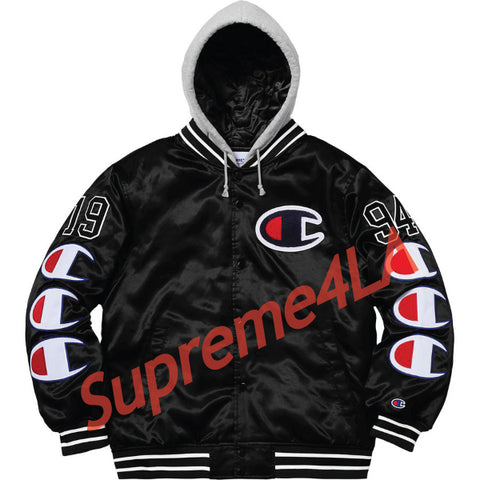 Supreme 18F/W Champion Hooded Satin Varsity Jacket Black