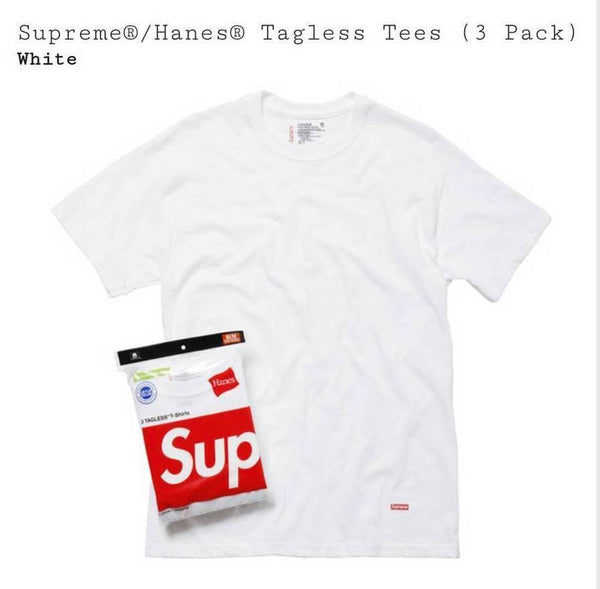 Supreme Hanes Tagless Tees Pack (Pack of 3) White