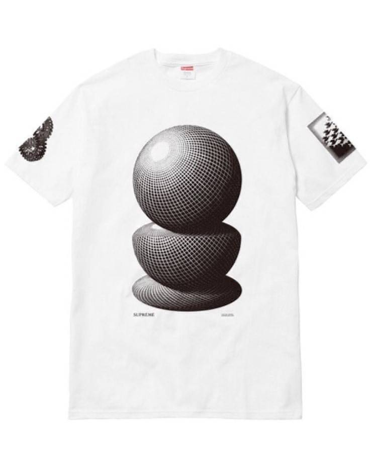 Supreme 17S/S M.C. Escher Three Spheres Tee White