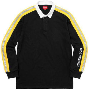 Supreme 18S/S Reflective Sleeve Stripe Rugby Black