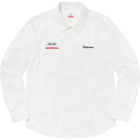 Supreme 19FW Honda Fox Racing Work Shirt Off White Size M
