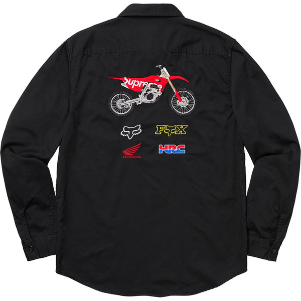 Supreme 19FW Honda Fox Racing Work Shirt Black Size L