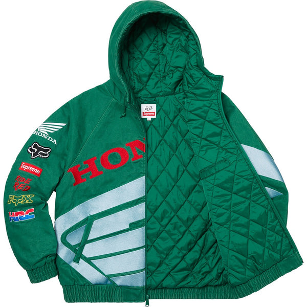Supreme Honda Fox Racing Puffy Zip Up Jacket DK Green Sz XL
