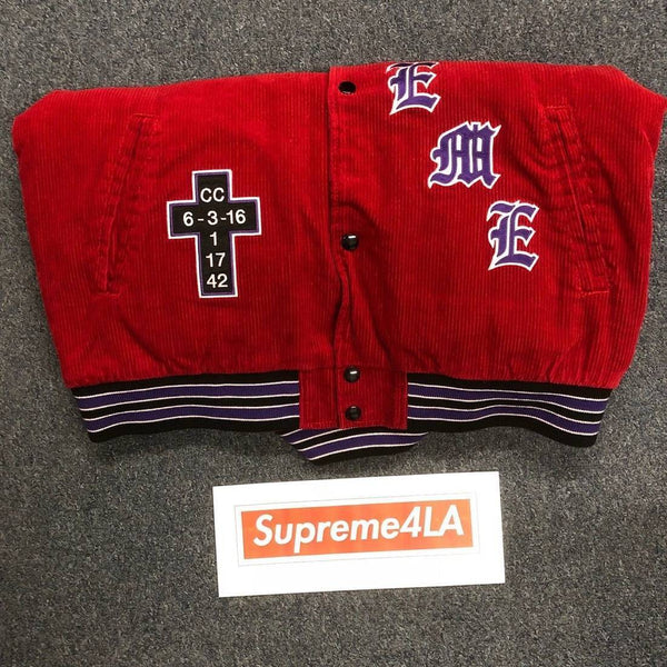 Supreme 18S/S Old English Corduroy Varsity Jacket Red