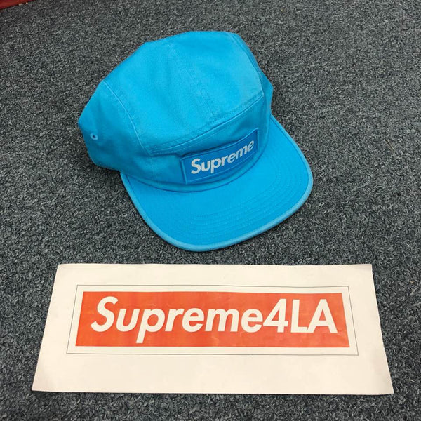 Supreme 18F/W Washed Chino Twill Camp Cap Neon Blue
