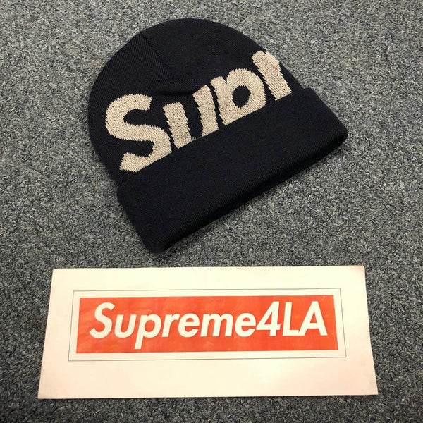 Supreme 18F/W Big Logo Beanie Navy