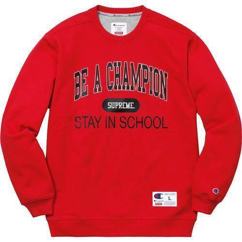 Supreme 18S/S Champion Stay In School Crewneck Red