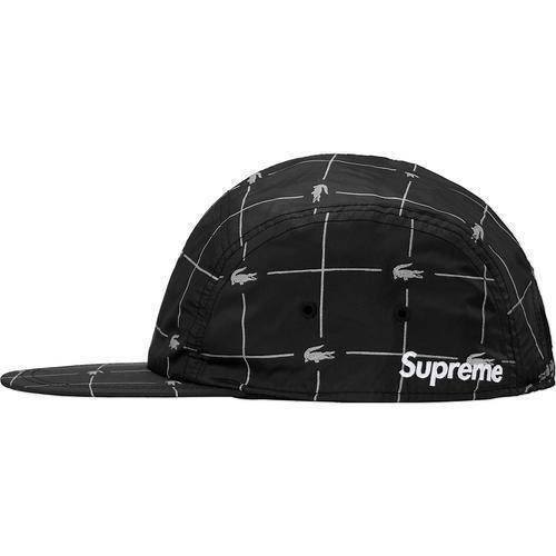 Supreme 18S/S LACOSTE Reflective Grid Nylon Camp Cap Black