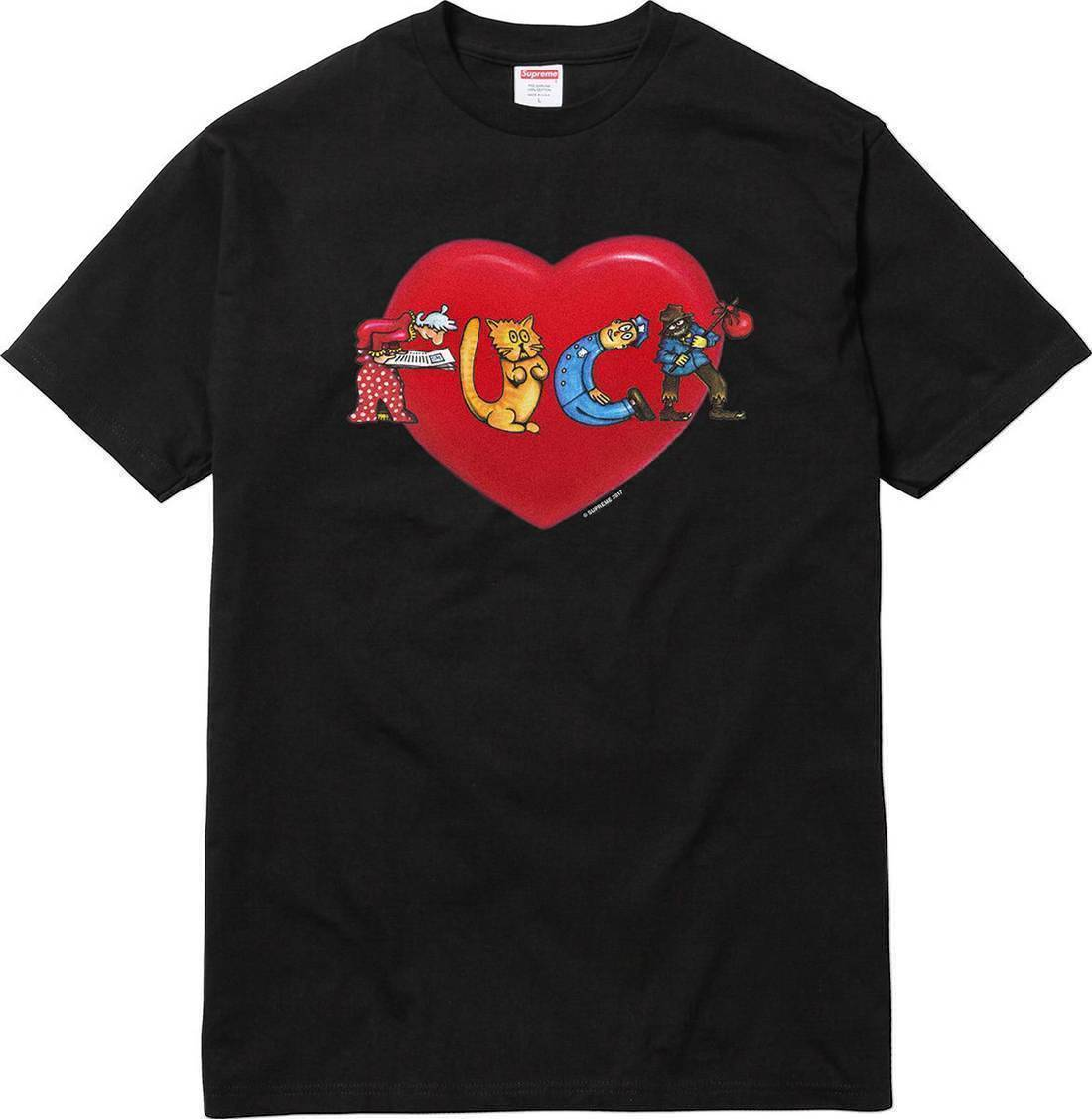 Supreme 17F/W F*ck Love Heart Tee Black