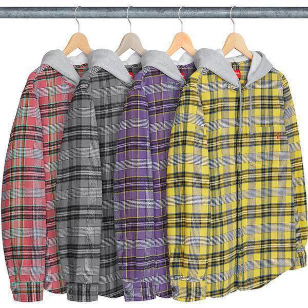 Supreme 18S/S Hooded Plaid Flannel Shirt Green Yellow