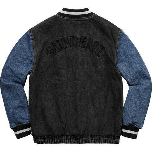 Supreme 18S/S Denim Varsity Jacket Black