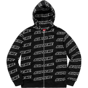 Supreme 18S/S Repeat Zip Up Hooded Sweatshirt Black