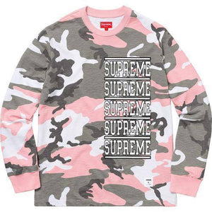 Supreme 18S/S Stacked L/S Top Pink Camo