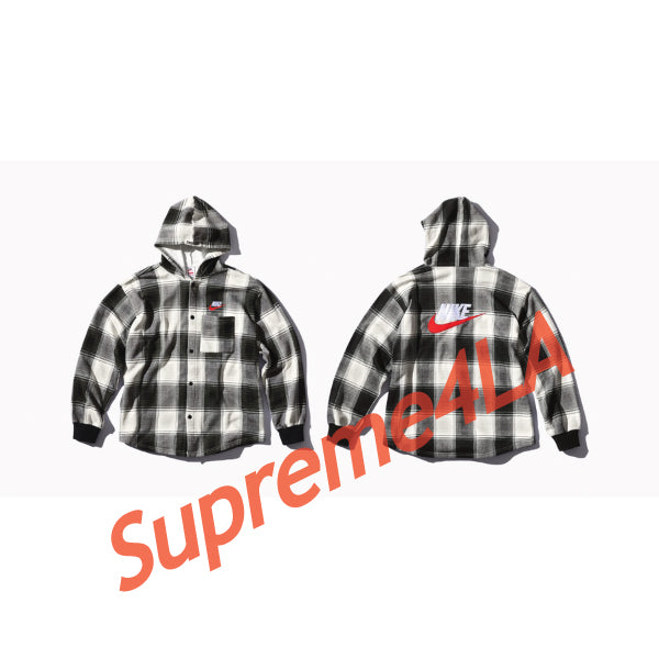 Supreme 18F/W Nike Plaid Hooded Sweatshirt Black