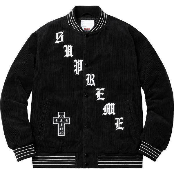 Supreme 18S/S Old English Corduroy Varsity Jacket Black