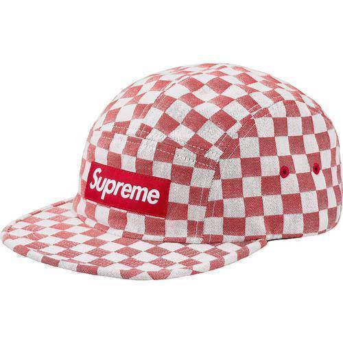 Supreme 18S/S Checkerboard Camp Cap Red