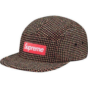 Supreme 17F/W Bouclé Houndstooth Camp Cap Neon