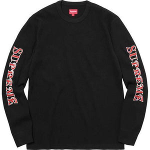 Supreme 17F/W Sleeve Logo Waffle Thermal Black