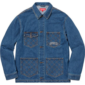 Supreme 18F/W Diamond Stitch Denim Chore Coat Blue