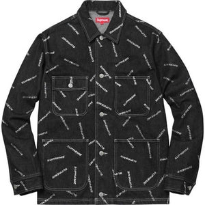 Supreme 17S/S Denim Logo Chore Coat Black