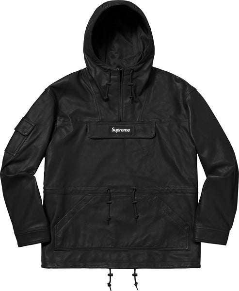 Supreme 18F/W Leather Anorak Black Size M