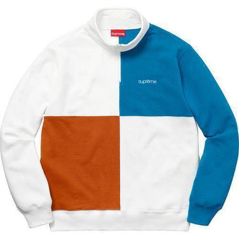 Supreme 18S/S Color Blocked Half Zip Sweatshirt White
