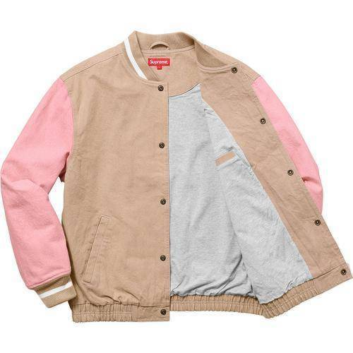 Supreme 18S/S Denim Varsity Jacket Tan