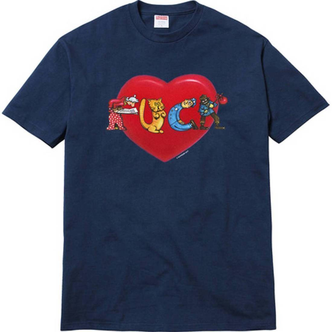 Supreme 17F/W F*ck Love Heart Tee Navy